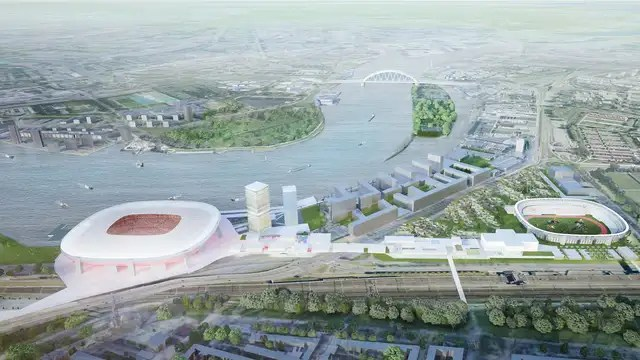 Design of the Nieuwe Kuip.  On the right the old stadium.