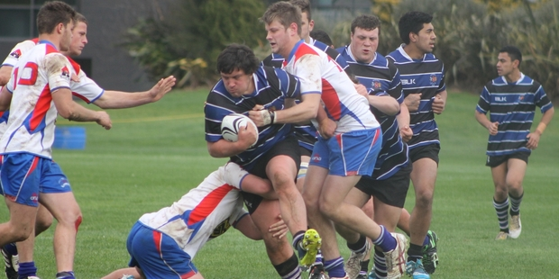Gabriel Hakaraia takes on the defensive line. Photo/Supplied