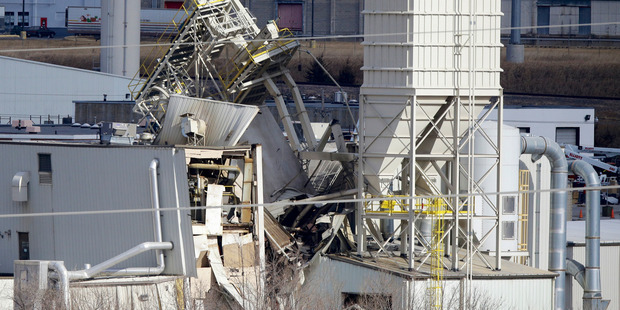 The International Nutrition plant is shown with wreckage in Omaha, Nebraska. Photo / AP