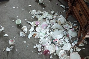 Cup of tea? Er, probably not today. Tina Rush sent us this photo of the post-quake clean-up job in her house.