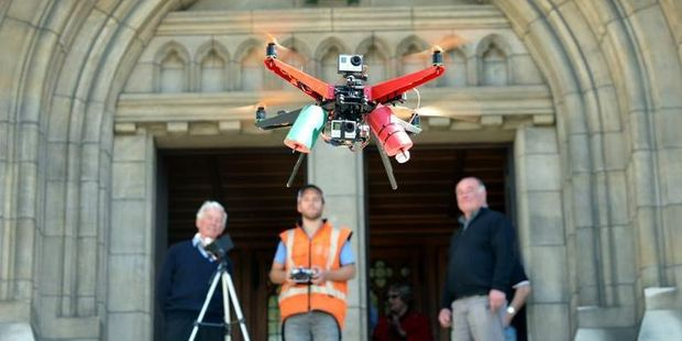 Watching the XP2 Monster Quadcopter at St Paul's Cathedral. Photo / Peter McIntosh.