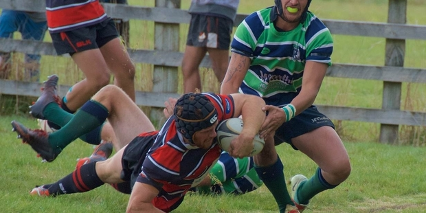 RUNNING HOT: Taihape flanker Marcus Tottman scores one of his two tries in Taihape's important 25-23 win over Ruapehu in Ohakune on Saturday.PHOTO/BERNADETTE NEPE 20042015WCSUPRUGBYTRY