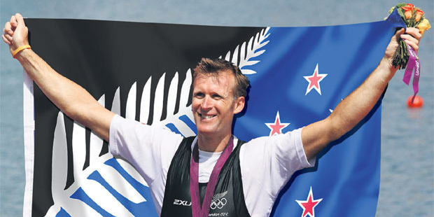 Artist's impression of Mahe Drysdale with Kyle Lockwood's Silver Fern (Black, White and Blue) flag. Illustration / NZ Herald Graphic