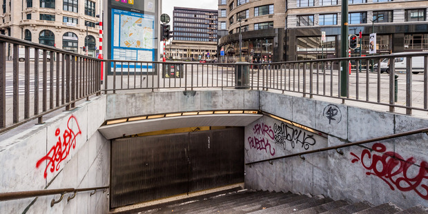 The entrance to the metro at the main train station in the centre of Brussels is closed. Photo / AP