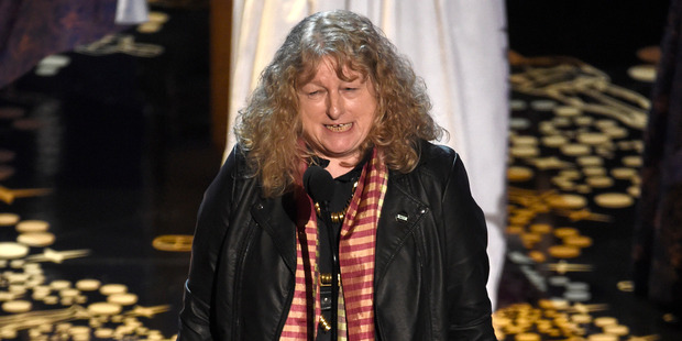 Jenny Beavan accepts the award for best costume design for Mad Max: Fury Road at the Oscars. Photo / AP
