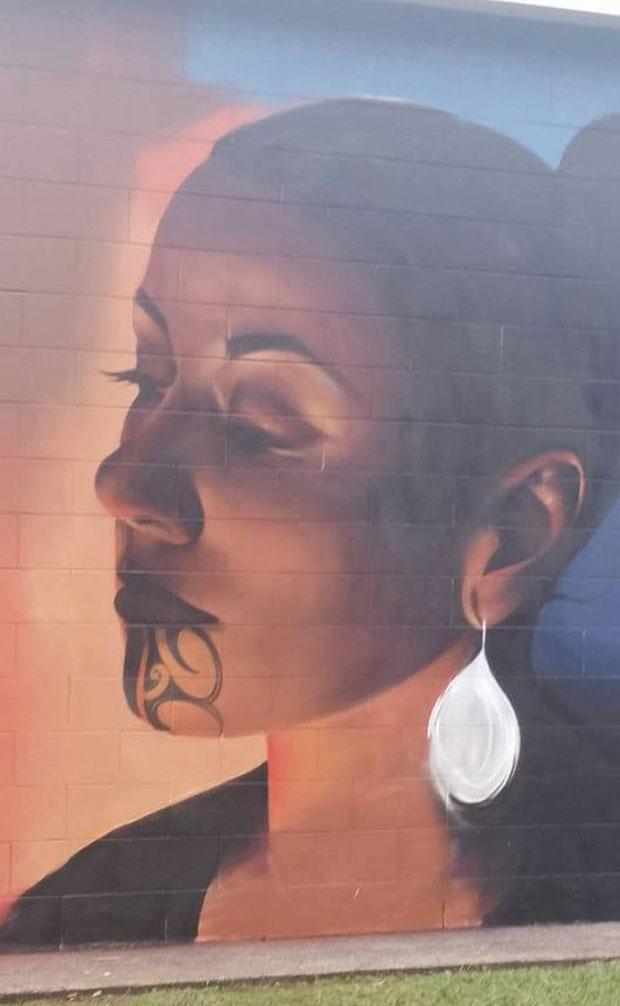 The mural by artist Earnest Bradley.