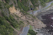Huge slips, caused by the 7.8 earthquake, blocking State Highway One north of Kaikoura. Photo / Mark Mitchell.