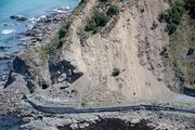 Aerial shots of SH1 south of Kaikoura. Photo / Mike Scott