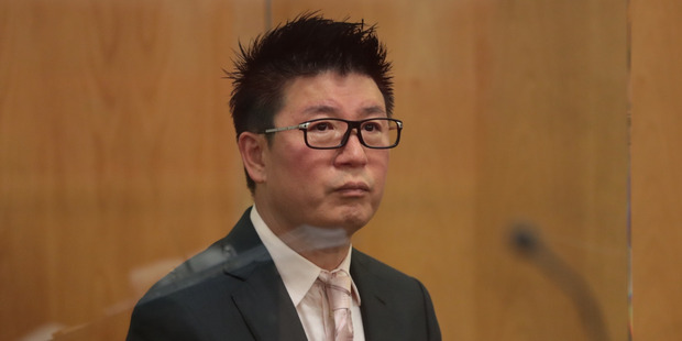 William Yan in the dock at Auckland District Court at his sentencing for money laundering. Photo/Brett Phibbs.