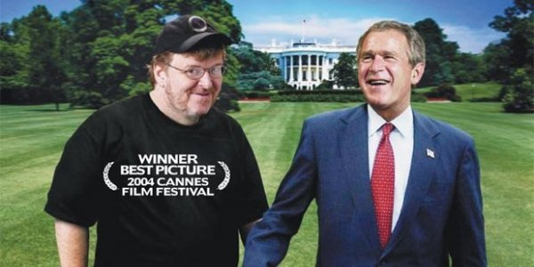 Michael Moore and George W Bush on the cover of the DVD for his 2004 film Fahrenheit 9/11.