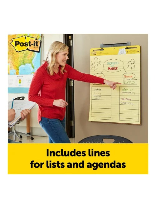 post it super sticky easel pads lined 25 x 30 yellow blue pack of 2 pads item 360990