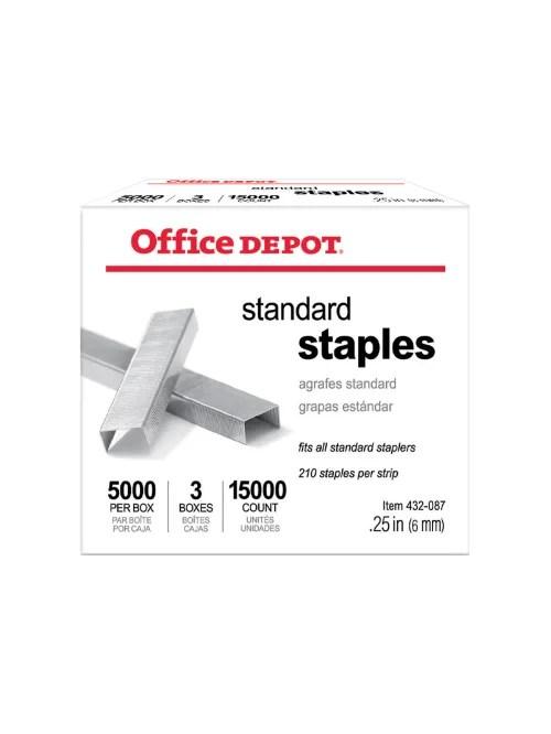 office depot brand standard staples 1 4 5 000 staples per pack box of 3 packs item 432087