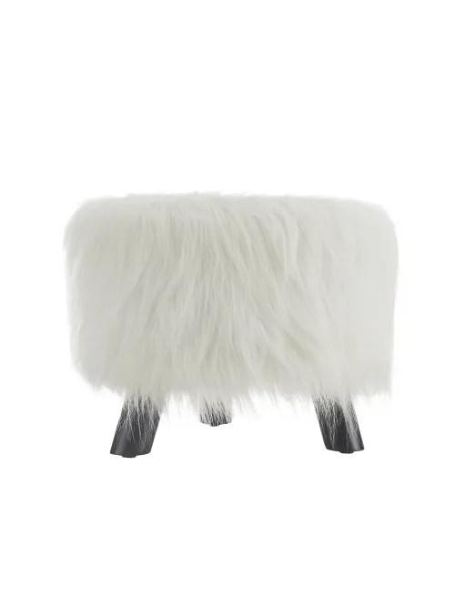 linon home decor products claire faux fur ottoman white item 463292