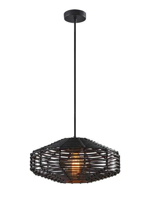 adesso kingston pendant lamp 7 h black rattan shade black base item 5364768