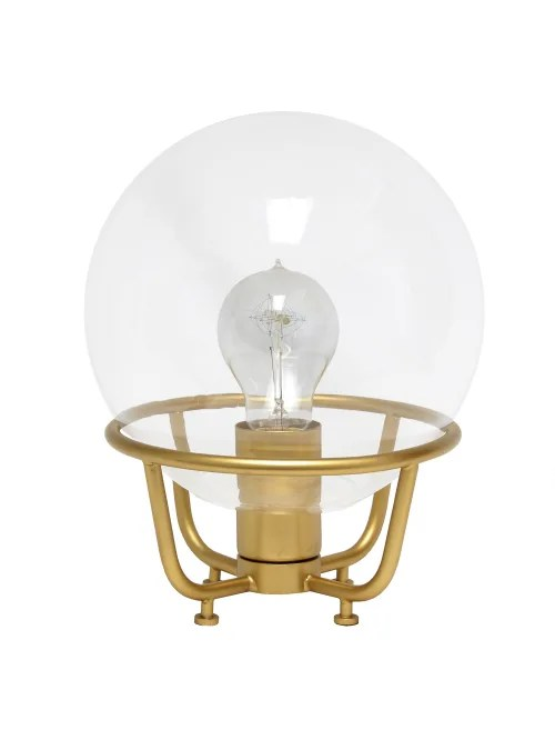 lalia home old world globe glass table lamp 20 h clear shade matte gold base item 8341207