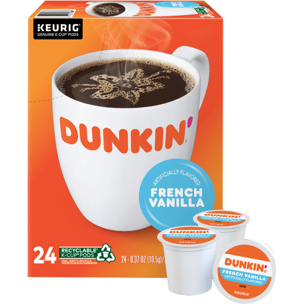 Enjoy a smooth, delicious cup of coffee at the start of a busy day. These Dunkin' Donuts coffee pods let you quickly make a single serving with virtually no fuss or mess.  Easy-to-use Dunkin' Donuts coffee K-Cup Pods have just enough beans to create a single delicious cup.  Cleans up quickly - just toss the used pod away.  Dunkin' Donuts is not affiliated with Keurig or K-Cup. K-Cup is a registered trademark of Keurig Incorporated.  Dunkin' Donuts French vanilla coffee K-Cup Pods are a surefire way to kick-start your day.  Includes a box of 24 vanilla coffee pods.