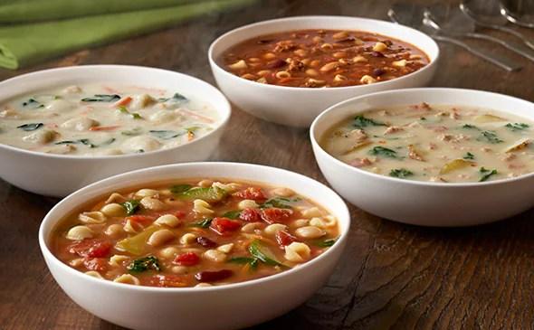 Homemade Soups Lunch Dinner Menu Olive Garden Italian Restaurant