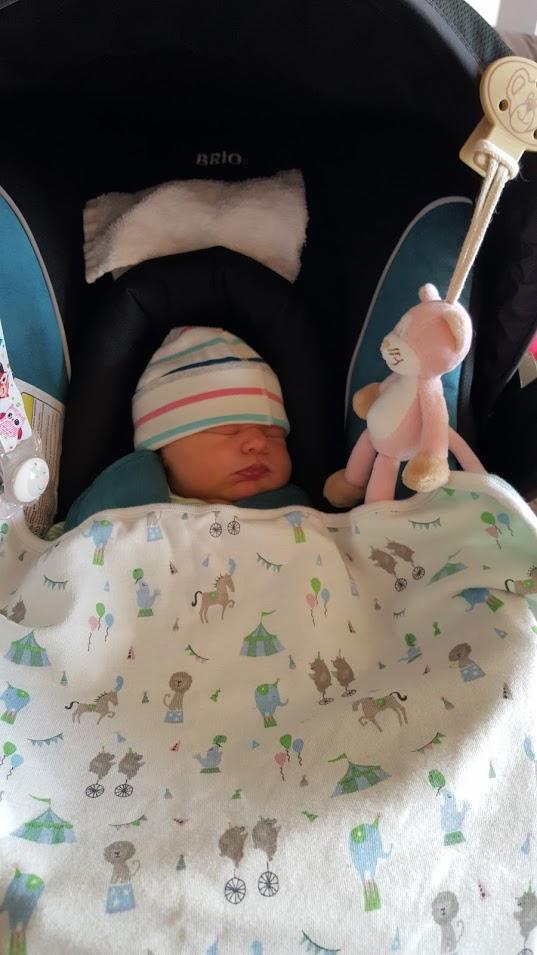 Maja i sitt babyskydd