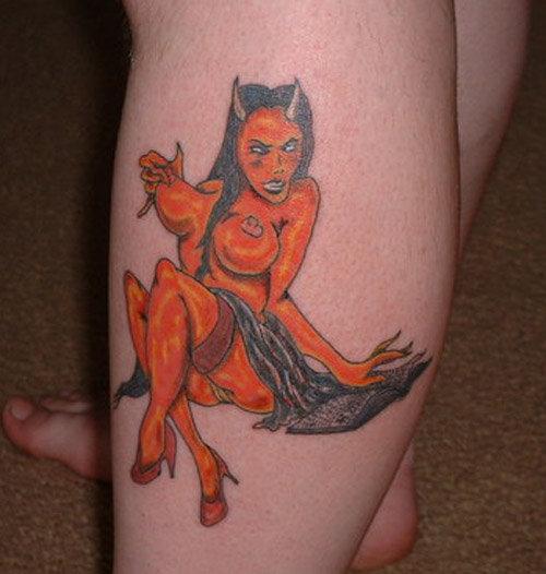 unique angel devil tattoos design colorful