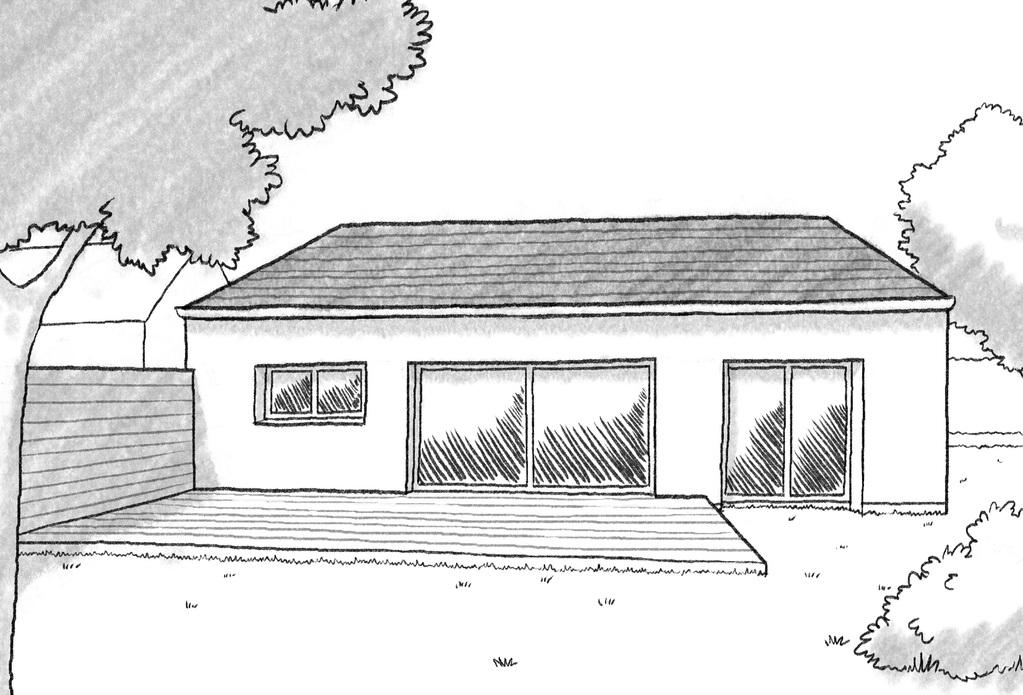 esquisse 3d plan de maison de plain pied avec 1 chambre