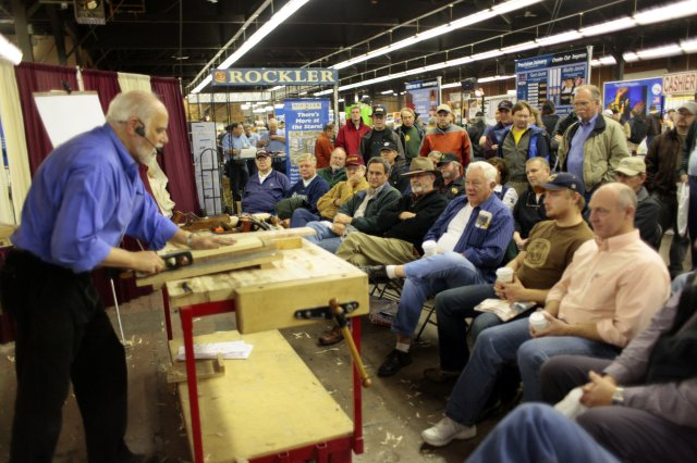 ... techniques on a woodworking plane during the woodworking show at
