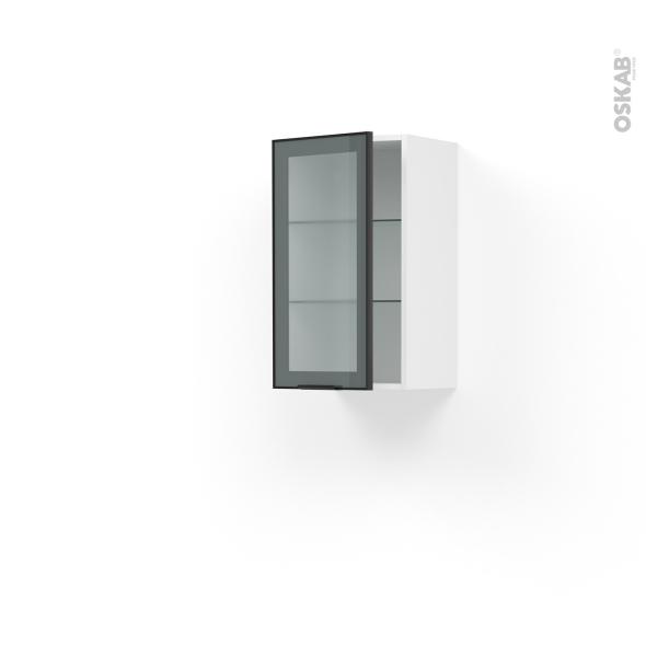 meuble de cuisine haut ouvrant vitre facade noire alu 1 porte l40 x h70 x p37 cm sokleo