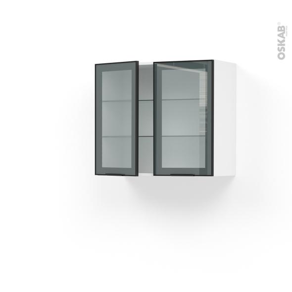meuble de cuisine haut ouvrant vitre facade noire alu 2 portes l80 x h70 x p37 cm sokleo
