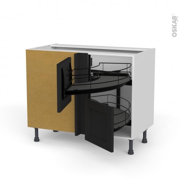 meuble de cuisine angle bas avara frene noir demi lune coulissant epoxy tirant droit 2 tiroirs l40 cm l80 x h70 x p58 cm