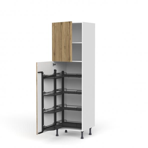 colonne de cuisine n 2127 armoire de rangement ouvrante oka chene 8 paniers plateaux l60 x h195 x p58 cm