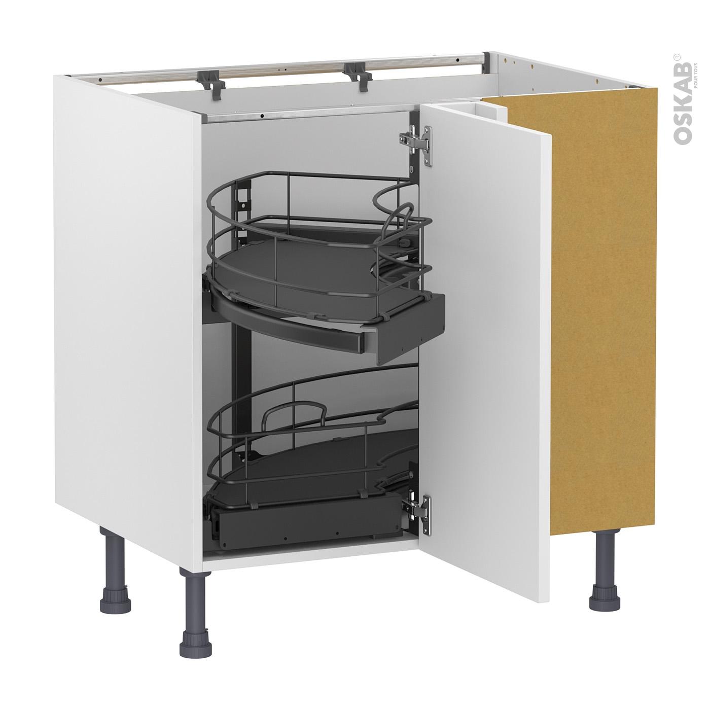 meuble de cuisine angle bas static blanc demi lune coulissant tirant droit 1 porte l40 cm mobile l80 x h70 x p58 cm