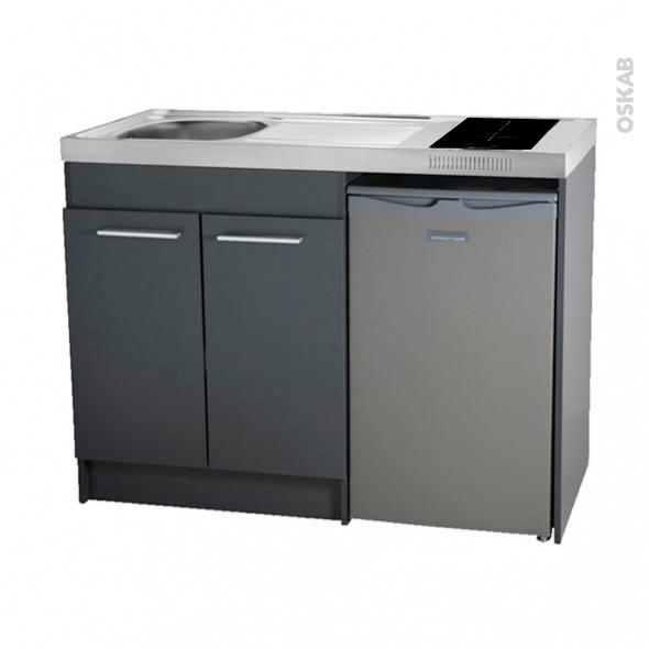 kitchenette induction meuble sous evier gris avec refrigerateur l120 x h93 x p60 cm sokleo