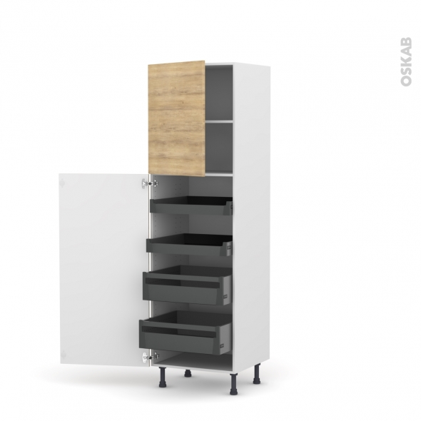 colonne de cuisine n 2127 armoire de rangement hosta chene naturel 4 tiroirs a l anglaise l60 x h195 x p58 cm