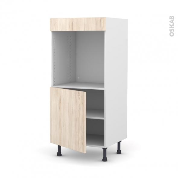 colonne de cuisine n 16 four encastrable niche 60 ikoro chene clair 1 porte l60 x h125 x p58 cm
