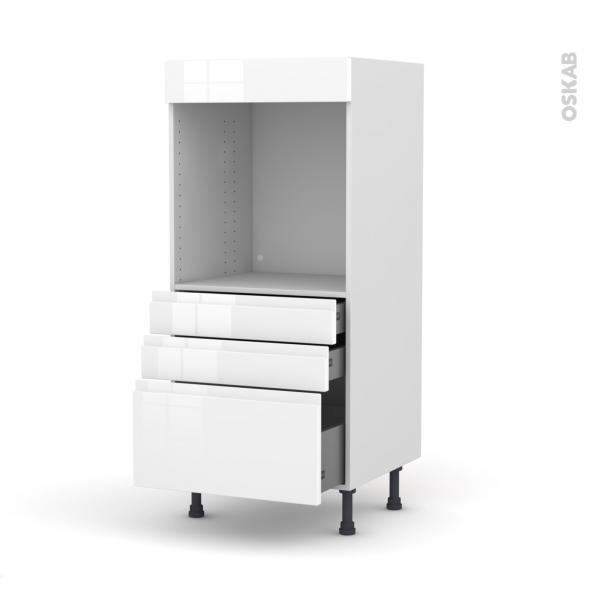colonne de cuisine n 59 four encastrable niche 60 ipoma blanc brillant 3 tiroirs l60 x h125 x p58 cm