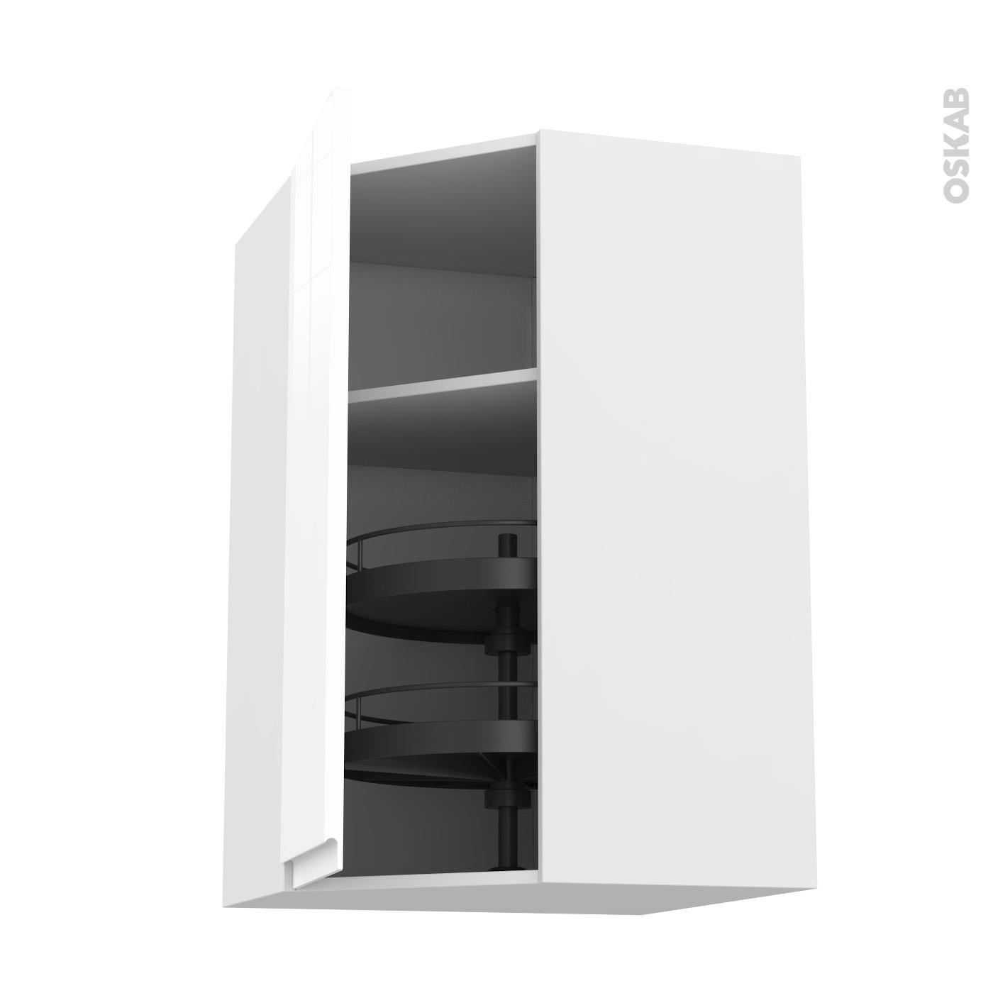 meuble de cuisine angle haut ipoma blanc brillant tourniquet 1 porte n 85 l38 8 cm l65 x h70 x p37 cm
