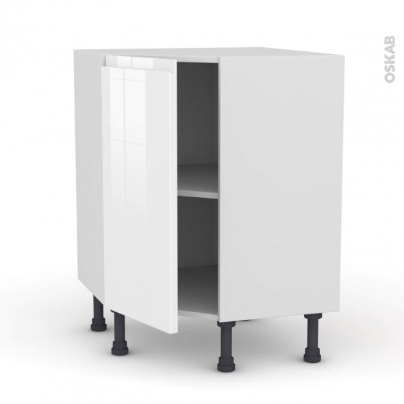 Meuble De Cuisine Angle Bas Ipoma Blanc Brillant 1 Porte N 19 L40 Cm L65 X H70 X P37cm Oskab