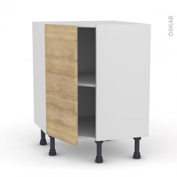 meuble de cuisine angle bas hosta chene naturel 1 porte n 19 l40 cm l65 x h70 x p37cm