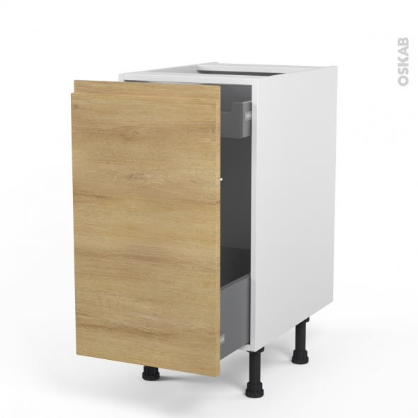 meuble de cuisine bas coulissant ipoma chene naturel 1 porte 1 tiroir a l anglaise l40 x h70 x p58 cm
