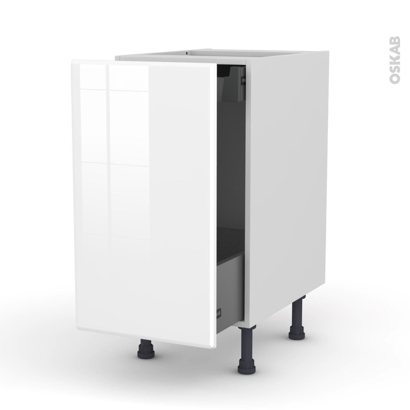 meuble de cuisine bas coulissant iris blanc 1 porte 1 tiroir a l anglaise l40 x h70 x p58 cm