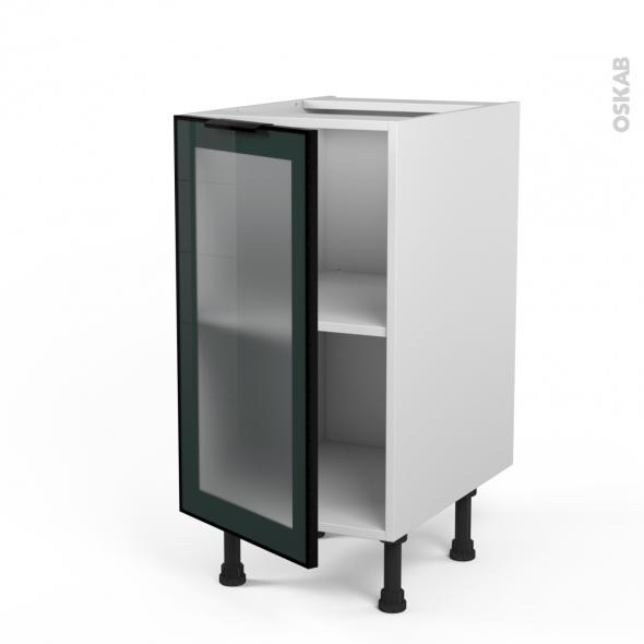 meuble de cuisine bas vitre facade noire alu 1 porte l40 x h70 x p58 cm sokleo