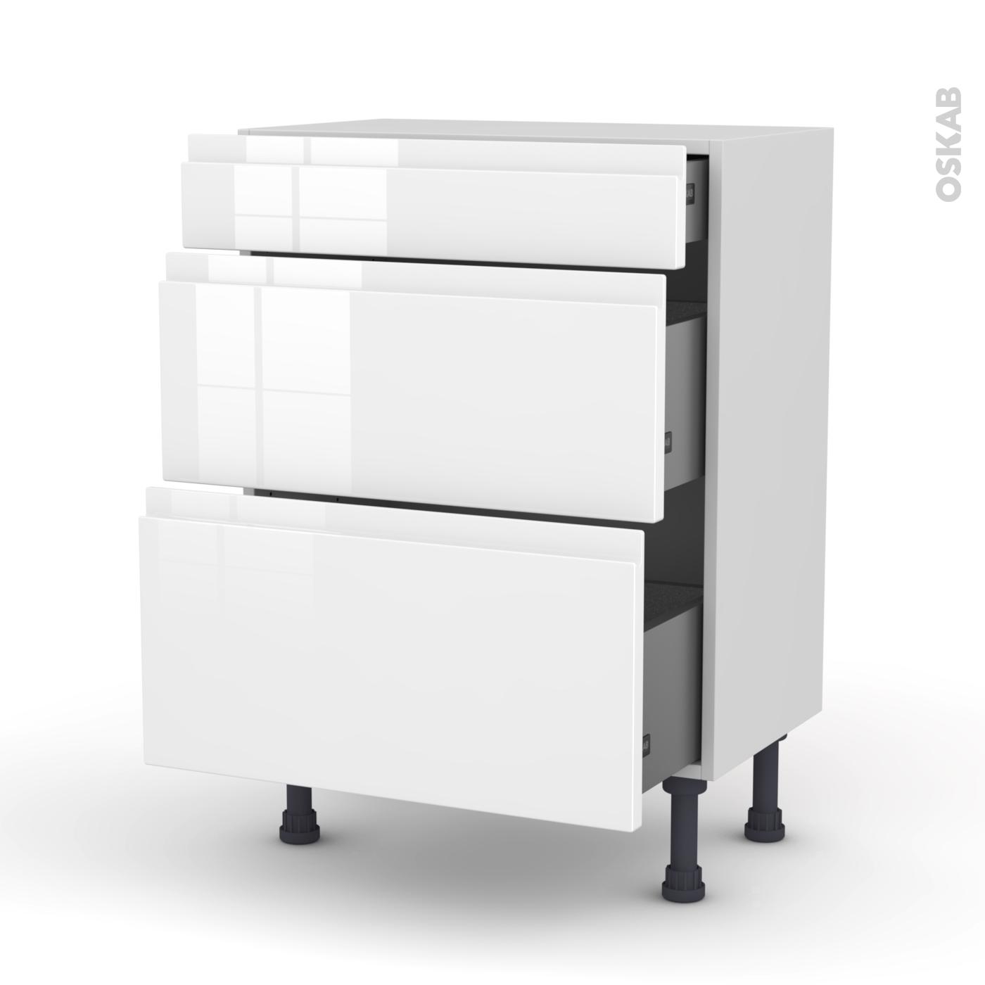 meuble de cuisine bas ipoma blanc brillant 3 tiroirs l60 x h70 x p37 cm