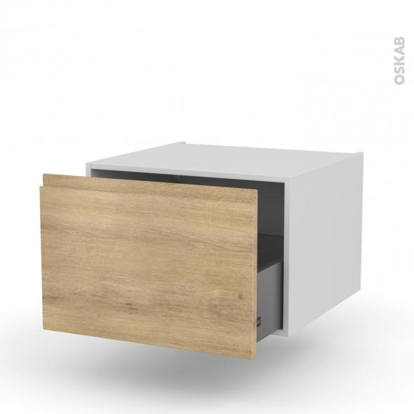 meuble de cuisine bas suspendu ipoma chene naturel 1 casserolier l60 x h41 x p58 cm