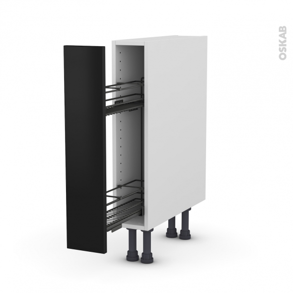 Meuble De Cuisine Range Epice Epoxy Ginko Noir 1 Porte L15 X H70 X P58 Cm Oskab