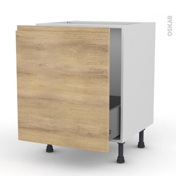 meuble de cuisine sous evier ipoma chene naturel 1 porte coulissante l60 x h70 x p58 cm