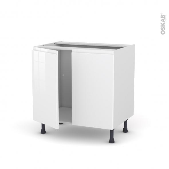 meuble de cuisine sous evier ipoma blanc brillant 2 portes l80 x h70 x p58 cm
