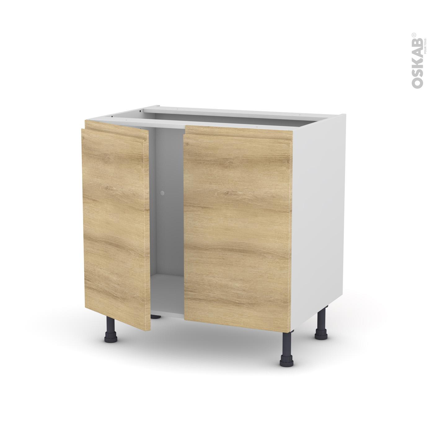 meuble de cuisine sous evier ipoma chene naturel 2 portes l80 x h70 x p58 cm