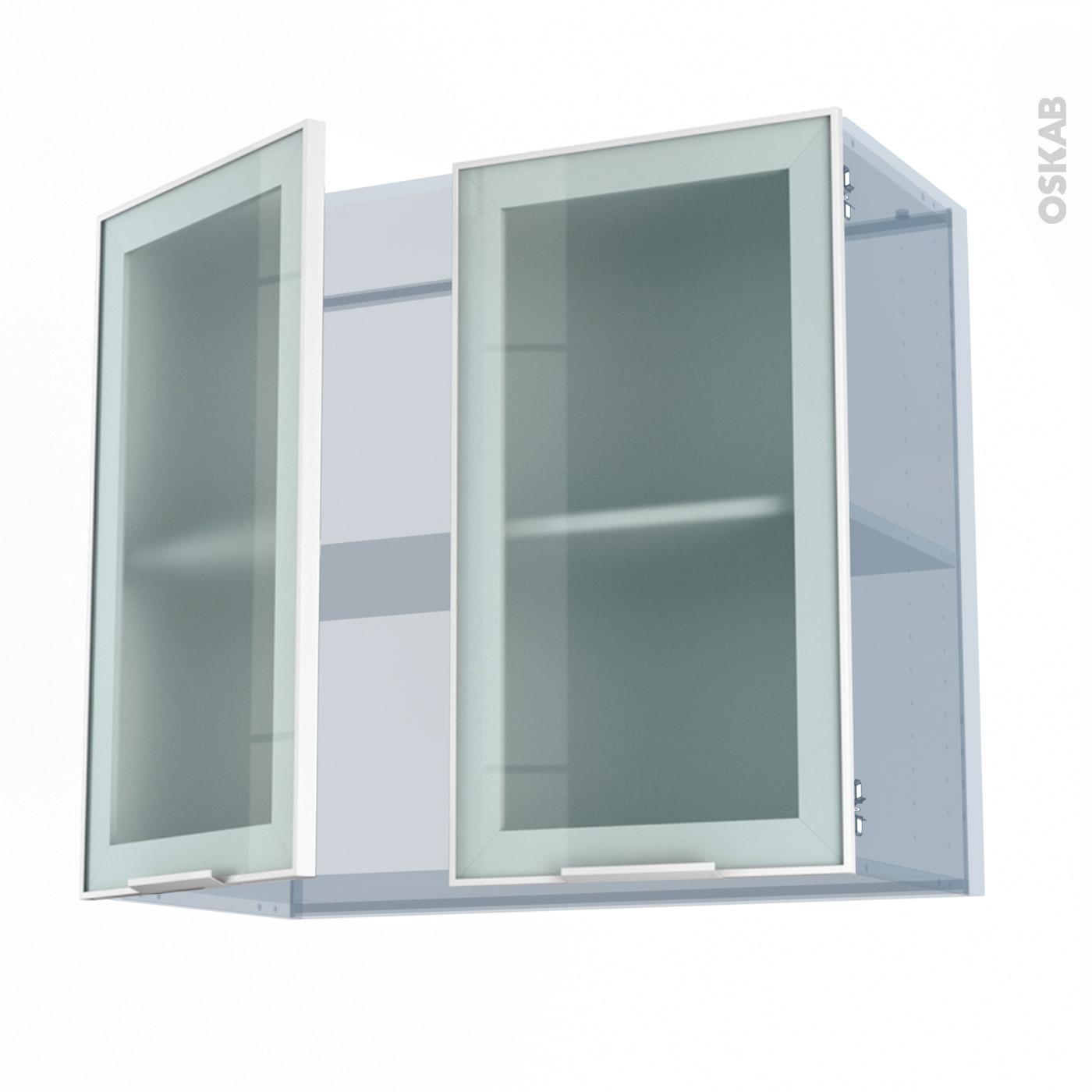 sokleo facade alu blanc vitree kit renovation 18 meuble haut ouvrant h70 2 portes l80xh70xp37 5