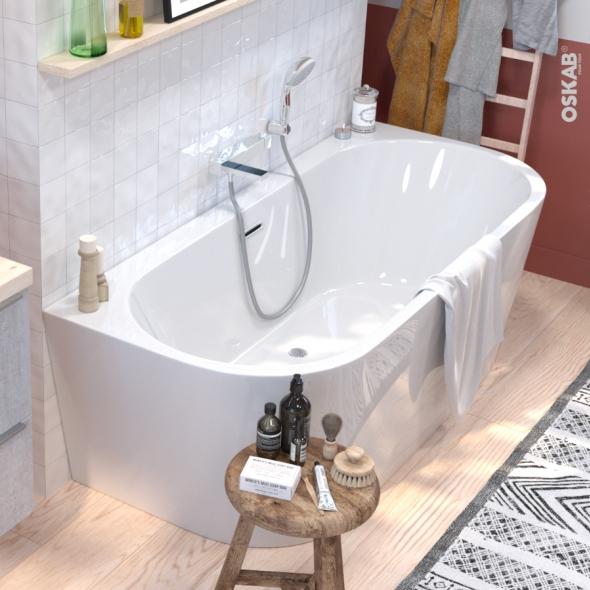 Baignoire Ilot Murale Ovale Blanche 170x75 Cm Acrylique Renforce Zeen Oskab