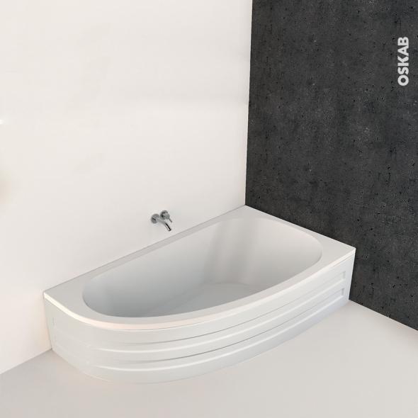 baignoire asymetrique droite 160x90 cm acrylique renforce ona