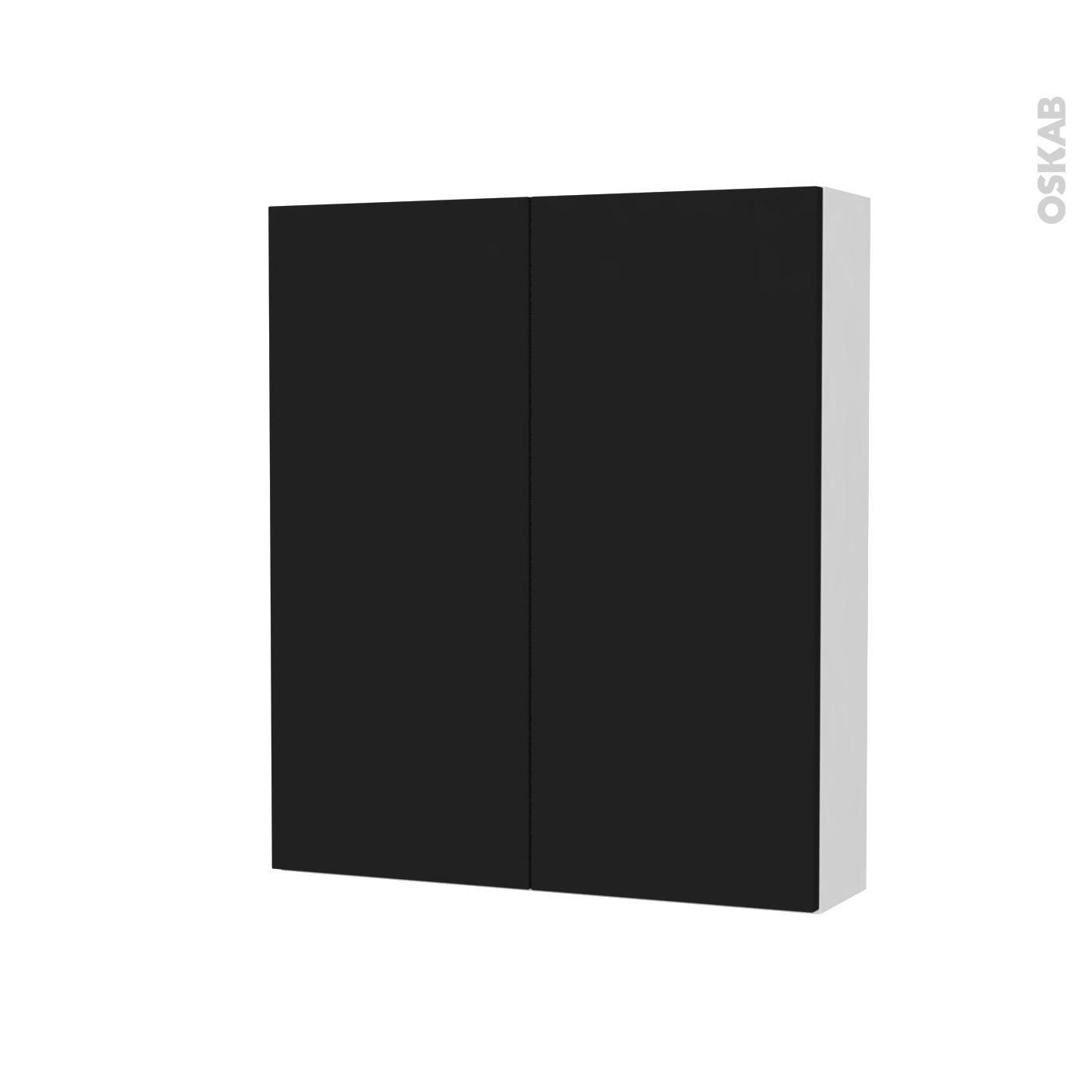 Armoire De Toilette Rangement Haut Ginko Noir 2 Portes Cotes Blancs L60 X H70 X P17 Cm Oskab